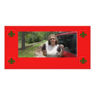 Carte photo de Christmas Fleur De Lis de personnal Photocarte Personnalisée