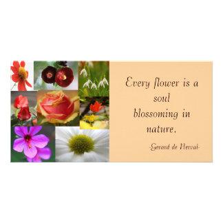 Carte photo de collage de fleur modèle pour photocarte