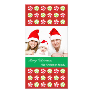Carte Photo de famille avec des sucreries de Noël