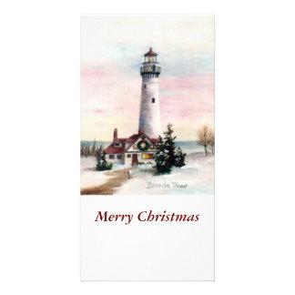 Carte photo de Noël de lumière de Noël Cartes Avec Photo
