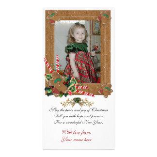 Carte photo de Noël de pain d'épice Modèle Pour Photocarte