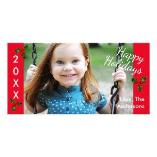 Carte photo de Noël de rouge du houx 3 bonnes
