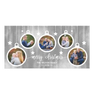 Carte photo de Noël, vacances, ornements
