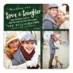 Carte photo de vacances d'amour et de rire/vert carton d'invitation  13,33 cm
