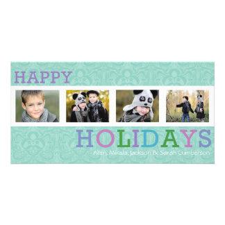 Carte photo en pastel chic de Noël de 4 photos Cartes Avec Photo