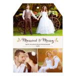 Carte photo marié et joyeux de Noël de houx Cartons D'invitation Personnalisés