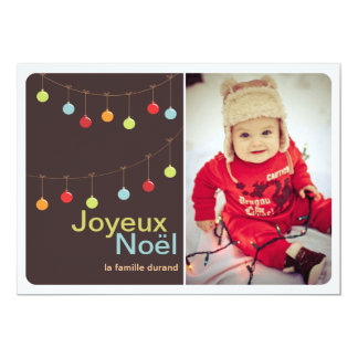 Carte photo moderne de Joyeux Noël d'ornements