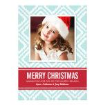 Carte photo motif rouge et bleu de | de Noël d'Ika Cartons D'invitation