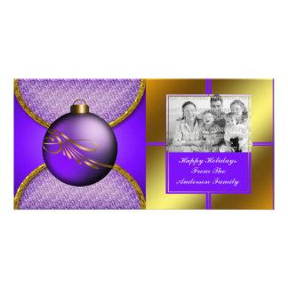 Carte photo pourpre d'ornement de Noël d'or Photocarte