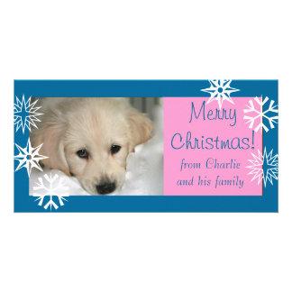 Carte photo rose bleu de Noël de chien de flocons  Modèle Pour Photocarte