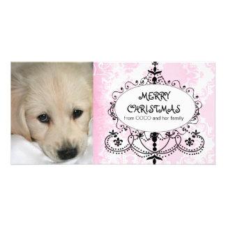 Carte photo rose de Noël de chien de lustre de dam Photocarte Personnalisée