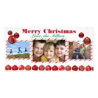 Carte photo rouge des ampoules trois de Joyeux Photocarte Personnalisée