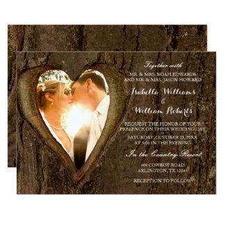 Carte Photo rustique de mariage de coeur d'arbre