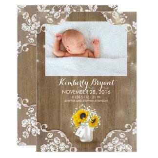 Carte Photo rustique de naissance de bébé de tournesols