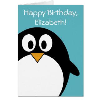 Carte Pingouin d'anniversaire personnalisable