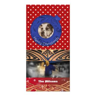 Carte Pois de rouge bleu de Joyeux Noël de photo de