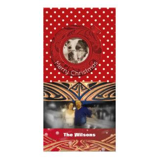 Carte Pois rouge de Joyeux Noël de photo de vacances