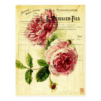 carte postal fleurs anciennes
