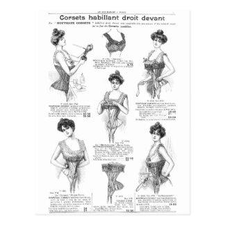 Carte Postale Annonce parisienne vintage de corset