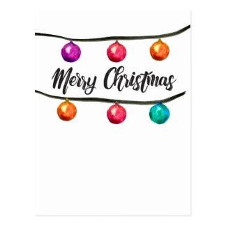Carte Postale Aquarelle, Joyeux Noël, boules d'ornement