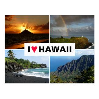Carte postale avec un collage d'Hawaï de 4 photos