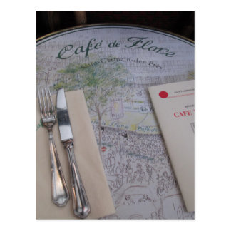 Carte Postale Cafe de Flore, Paris, France - couvert, menu
