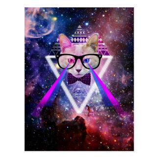 Carte Postale Chat de galaxie de hippie