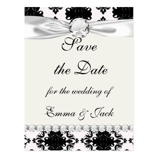 Carte Postale conception romantique blanche et noire de damassé