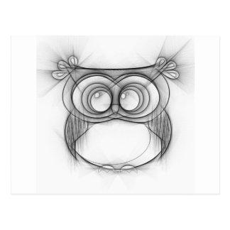 Carte Postale Croquis noir et blanc de hibou