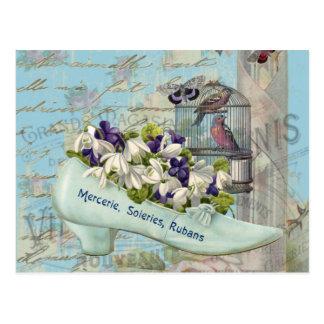 Carte Postale Cru bleu de cage à oiseaux de chaussure de