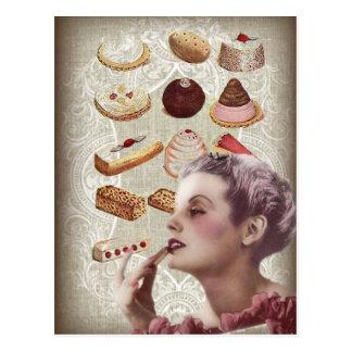 Carte Postale dame Paris de pâtisserie de petit gâteau de