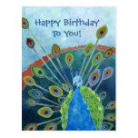 Carte postale d'anniversaire de paon