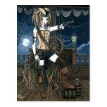 Carte postale de Fae de lune de bateau de pirate d