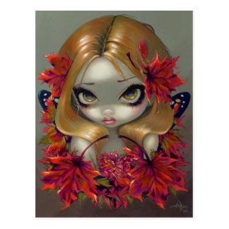 Carte postale de fée d érable rouge