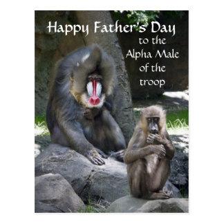 Carte postale de fête des pères de singe de Mandri
