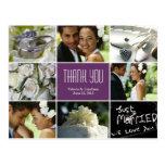 Carte postale de Merci de collage de mariage - pou