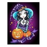 """Carte postale de sorcière de citrouille de """"Lisa"""""""