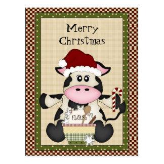 Carte postale de vacances de vache à Noël
