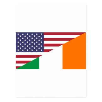 Carte Postale Drapeau d'USA/Ireland