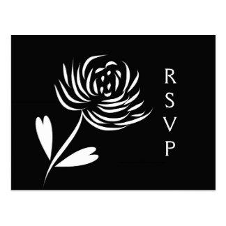 Carte postale du chrysanthème RSVP de style de