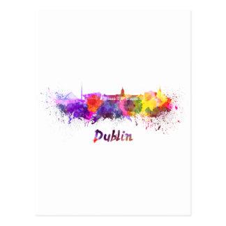 Carte Postale Dublin skyline in watercolor