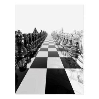 Carte Postale échiquier 3D noir et blanc