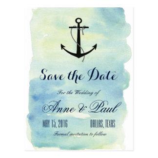 Carte Postale Économies nautiques d'aquarelle la date