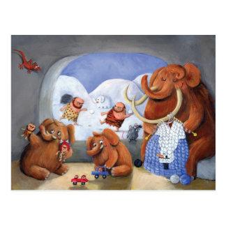 Carte Postale Famille de mammouth laineux dans la période
