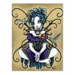 Carte postale féerique d'art de colibri gothique d