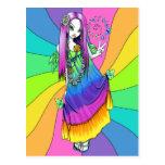 Carte postale féerique hippie de paix d'arc-en-cie