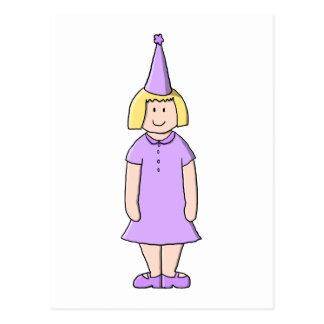 Carte Postale Fille dans l'équipement lilas de fête