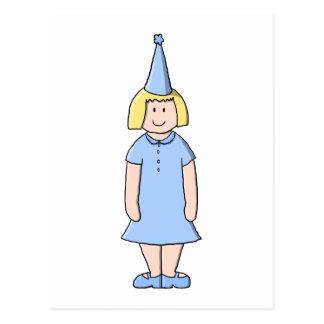 Carte Postale Fille dans un équipement bleu-clair de fête