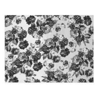 Carte Postale Floral blanc noir vintage botanique rustique