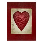 Carte postale florale rouge vintage de coeur de Va